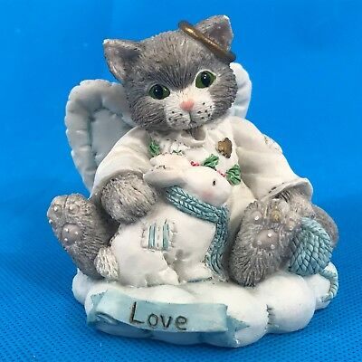 Calico Kittens Loving Gift 625272 Cat Love Angel on Cloud Figurine Snow Bunny