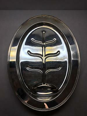 """VINT Large 19"""" Meat w well SERVING Tray SHEFFIELD Tree DESIGN Oval Silver PLATED"""