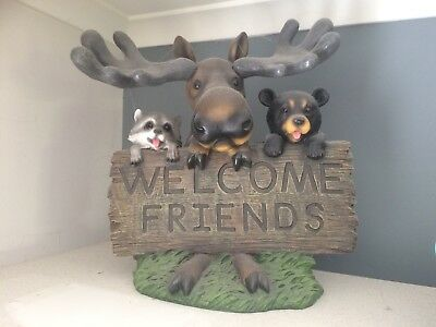Moose Raccoon & Bear Large Statue Welcome Sign Excellent Condition! From The USA