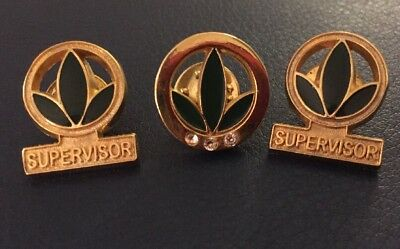 herbalife hat lapel pin lot supervisor x2 aniversary 3 rhinestone logo