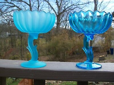 VintageLotus Blossom compotes Frosted Blue and Ice BlueIndiana Glass
