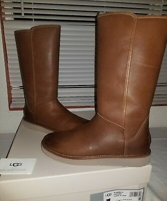 1aa4bfdbcaf UGG CLASSIC LUXE Collection Abree Ii Leather Boots Brown Sheepskin Lined  -Us 7