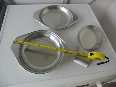 Retro - Heavy Stainless Steel Spoon rest and 2 shallow Dishes