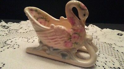Vintage style porcelain Swan figurine. White with delicate roses Decorative...
