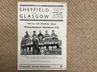 Rare Sheffield v Glasgow football programme from 1949