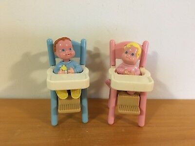 Fisher-Price Loving Family Babies Boy + Girl With High Chairs Toy Set