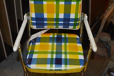 vintage cosco yellow high chair padded vinyl and metal