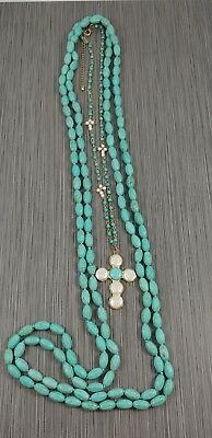 Dyed Howlite (faux turquoise) & mother of pearl cross necklace 11