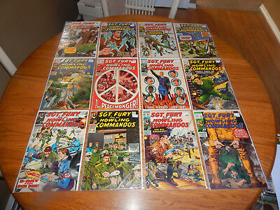 Large Silver Age Lot Of 12 Comics Sgt. Fury #'s 59 to 66 & 68 to 71 Avg. FN Cd.