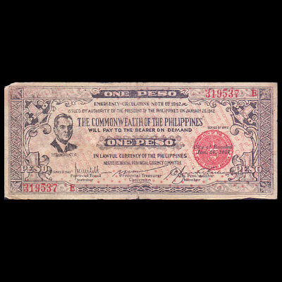 PHILIPPINES NEGROS OCCIDENTAL PROVINCIAL CURRENCY ONE PESO P-S646a 1942