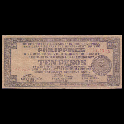 PHILIPPINES BOHOL Emergency Currency Board 10 TEN PESOS 1942 P-S137e WWII