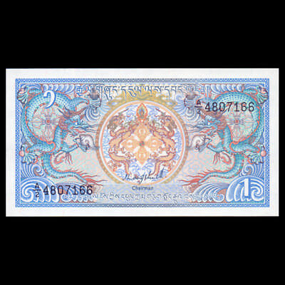 ROYAL MONETARY AUTHORITY OF BHUTAN 1986 ND P-12a 1 NGULTRUM BANKNOTE UNC