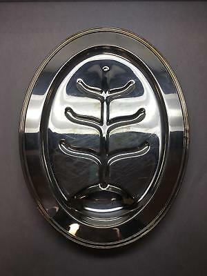 """VINTAGE SMALL 17"""" Meat SERVING Tray W Well SHEFFIELD Oval Silver PLATED"""
