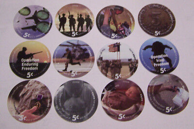 9th print 5 cents set of AAFES  Pogs in  About Uncirculated condtion