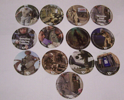 10th Print 10 Cents Set of 13  AAFES  Pogs  in Uncirculated  Condtion