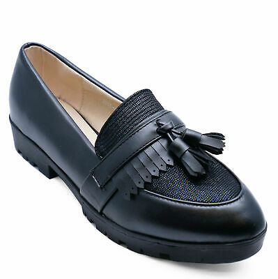 Womens Smart Black Comfy Casual Work Slip-On Loafers Shoes Pumps Sizes 3-8