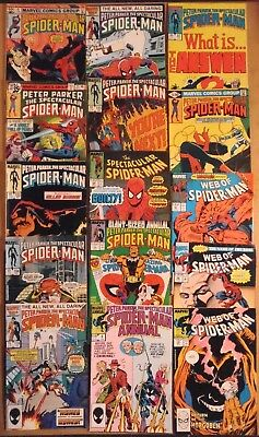 Peter Parker The Spectacular Spider-Man, Web OF..lot of 17 Marvel Comics