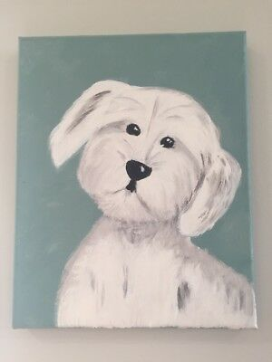 White Dog Acrylic Original Painting By Tovi Hecht