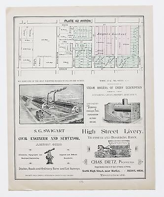 1891 South Akron Ohio Map 4th Ward Crosier St Plats Property Owners ORIGINAL