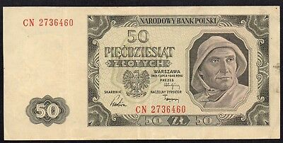 Poland P. 138 CN Prefix 01.07.1948, 50 Zlotych - Very Fine with Stains.
