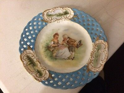 Silesia Hermann Ohme Porcelain Hand Painted Reticulated Plate Couple Boat scene