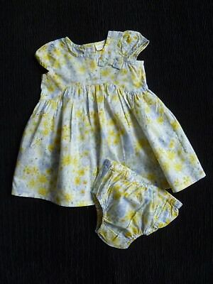 Baby clothes GIRL 0-3m NEXT cream,blue,yellow summer cotton floral dress/pants