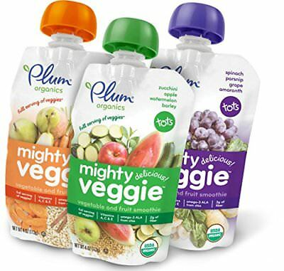 Plum Organics Mighty Veggie Organic Toddler Food Variety Pack 4 ounce pouch P...