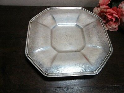 Vtg hammered silverplate footed square plate. Windmill mark