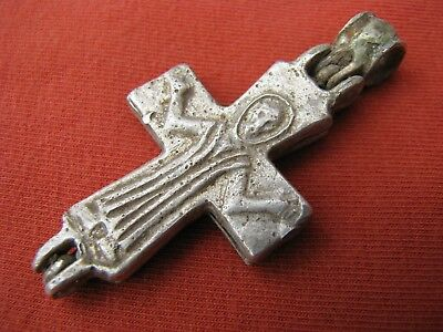 Ancient Silver Byzantine Encolpion Cross