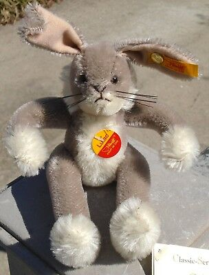 """2001 Steiff Mohair """"Lulac"""" Gray Jointed Bunny Rabbit-Mint w/Button,Labels+Tags!"""