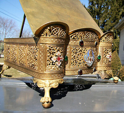 antique vintage brass jeweled family bible stand **BEAUTIFUL**