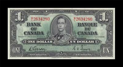 1937 BANK OF CANADA KGVI $1 **Gordon & Towers** (( aUNC ))