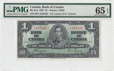 1937 BANK OF CANADA KGVI $1 **Coyne & Towers** (( PMG 65 EPQ ))