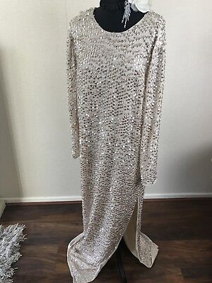 Asos Sequin Maxi Vintage Kimono Red Carpet Gatsby Flapper Evening Dress Gown  10