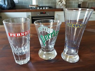 Pair of Vintage PERNOD Ricard Pastis Glasses & French Perrier Glass