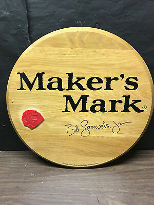 Makers Mark Straight Bourbon Signed Wax Stamp Sign Solid Wood