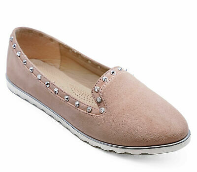 Womens Comfy Slip-On Loafers Casual Pink Plimsoll Pumps Flat Shoes Sizes 3-8