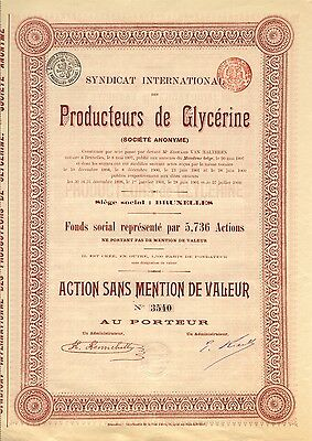 Syndicat International de GLYCERINE S.A., Aktie, von 1902 – CHEMIE !!!