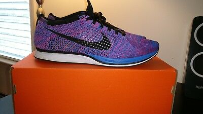 new products 736f6 8b097 Nike Flyknit Racer Game Royal Black Pink Flash 526628-400 Size 12