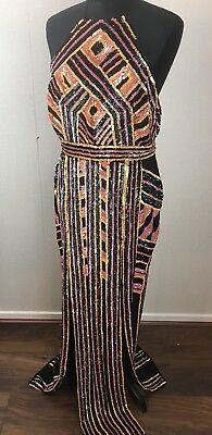ASOS SEQUIN MAXI VINTAGE Aztec RED CARPET GATSBY FLAPPER EVENING DRESS GOWN  12
