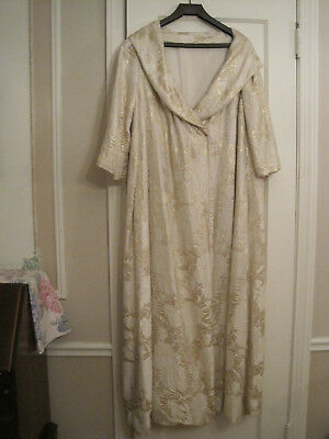 Vintage Womens Long Gold Brocade Evening Formal Coat Silk Lined. Snap front