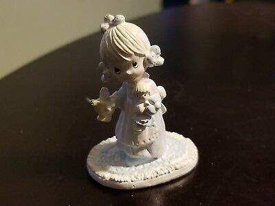1993 Precious Moments Small Metal Figurine Girl with Doll 2 Inches Tall. Used