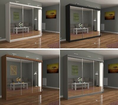 Modern Bedroom 3 Sliding Door Wardrobe CHICAGO with 3 LED Light - 5 Colours