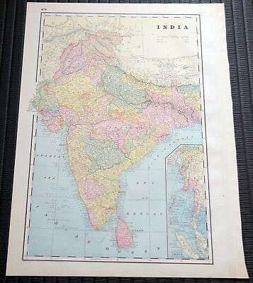 Crams Railway System Atlas Map Inida and Central Asia 1895