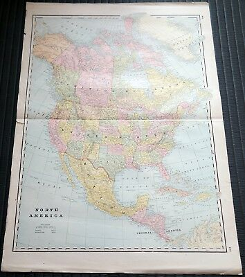 Crams Railway System Atlas Map North America Nashville Birmingham 1895