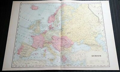 Crams Railway System Atlas Map Europe and Islands Pacific Ocean 1895