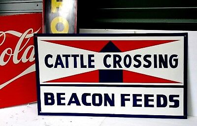 "Vintage BEACON FEEDS CATTLE CROSSING Metal Advertising Farm SIGN Large 24""x36"""