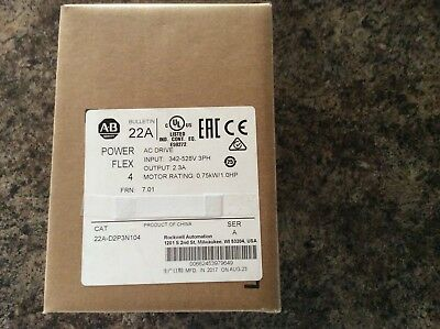 A-B 22-A-D4PON104 Power Flex Drive 2 Hp (new)