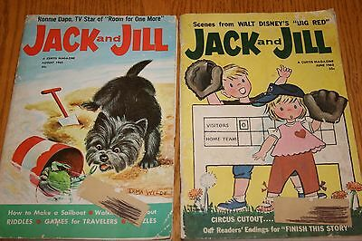 2 VTG JACK and JILL MAGAZINES 1962, UNCUT PAPER DOLLS, PUZZLES, LITHO