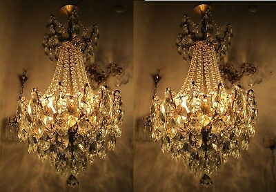 Pair of Antique Vnt French Big Spider Style Crystal Chandelier 1940s